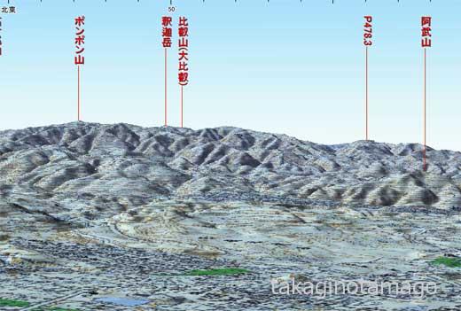 比叡山を見通せる高度の確認
