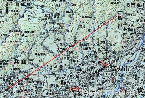 地勢図から見通しできる山を選定