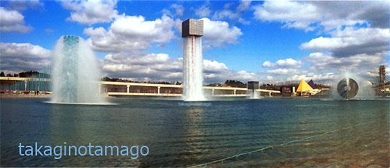 夢の池とイサム・ノグチの噴水群