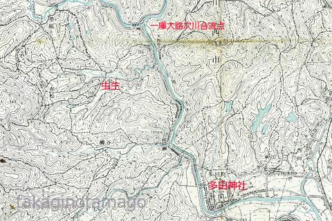 虫生付近の旧版地形図